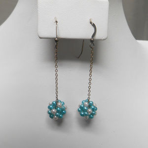 NWOT beaded pierced dangle earrings aqua & white